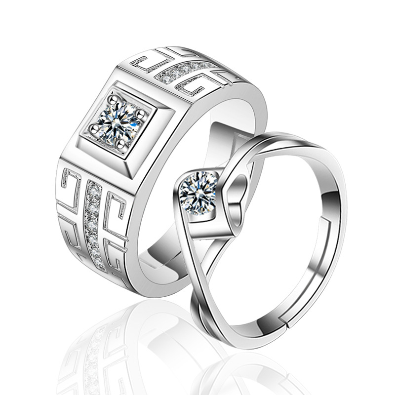 Wholesale European Fashion Man Party Wedding Gift Silver White Square AAA Zircon 925 Sterling Silver Rings Couples Lover