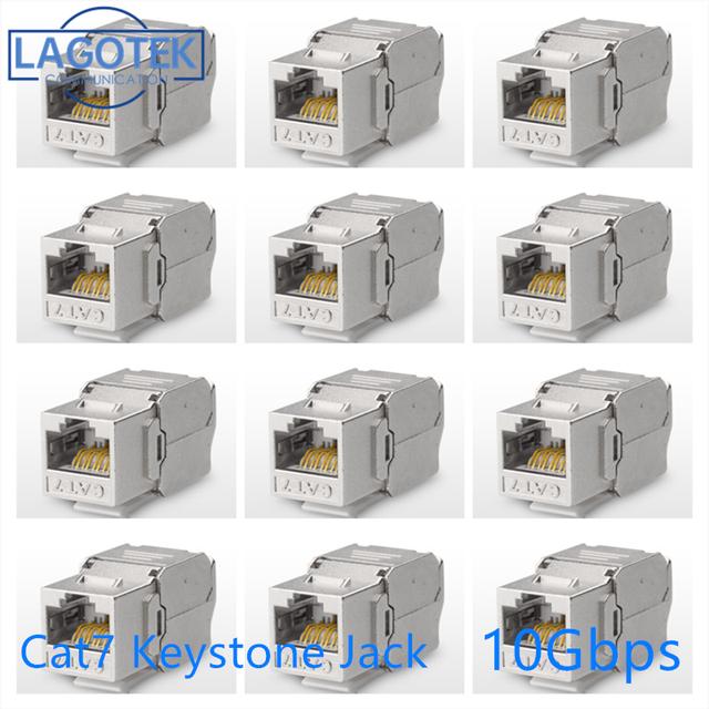 12/24Pcs RJ45 Keystone Cat7 Cat6A Afgeschermde Ftp Zinklegering Module Netwerk Keystone Jack Connector Adapter 10Gb netwerk