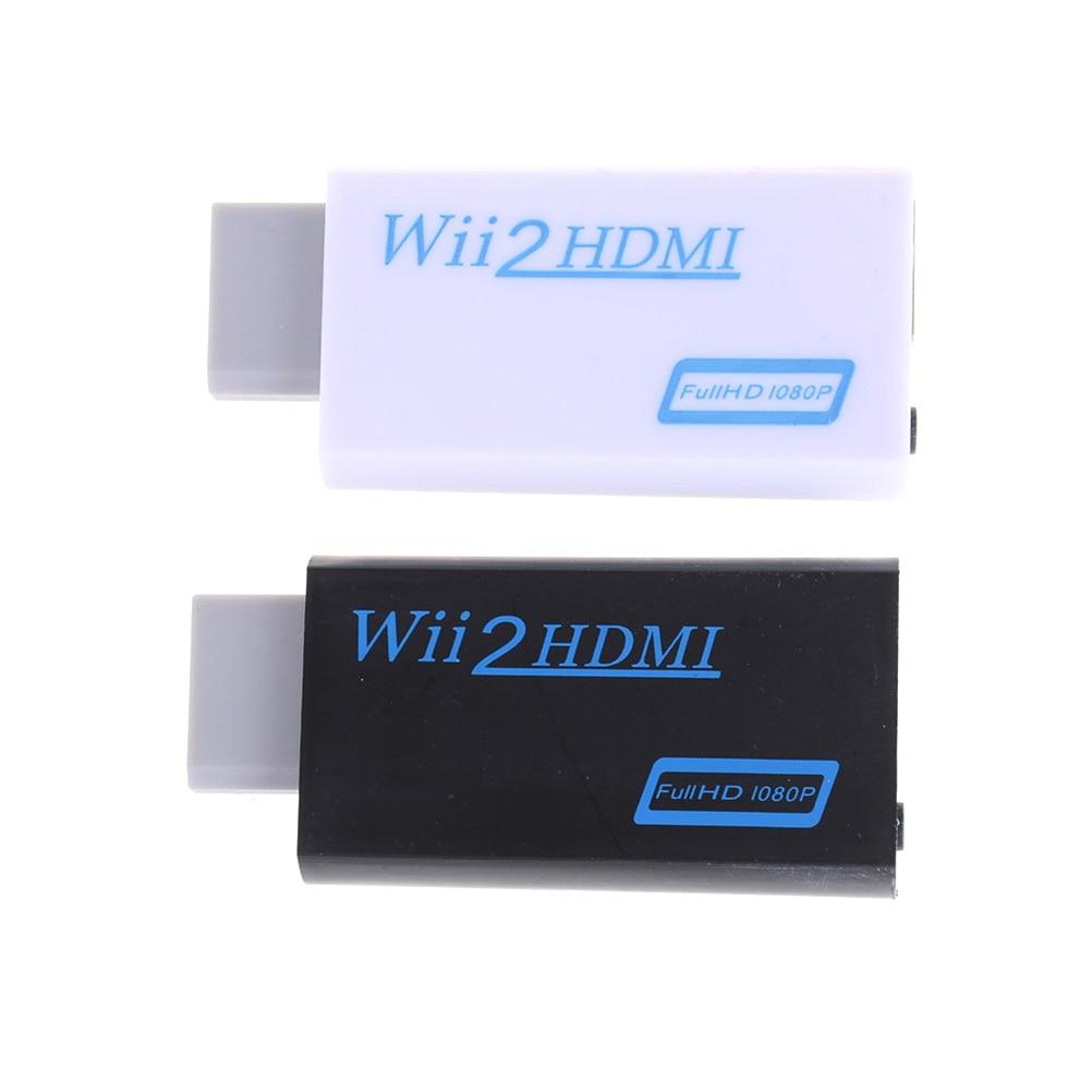 1pc para wii para hdmi adaptador conversor suporte fullhd 720p 1080p 3.5mm de áudio para wii2hdmi adaptador para hdtv preto branco