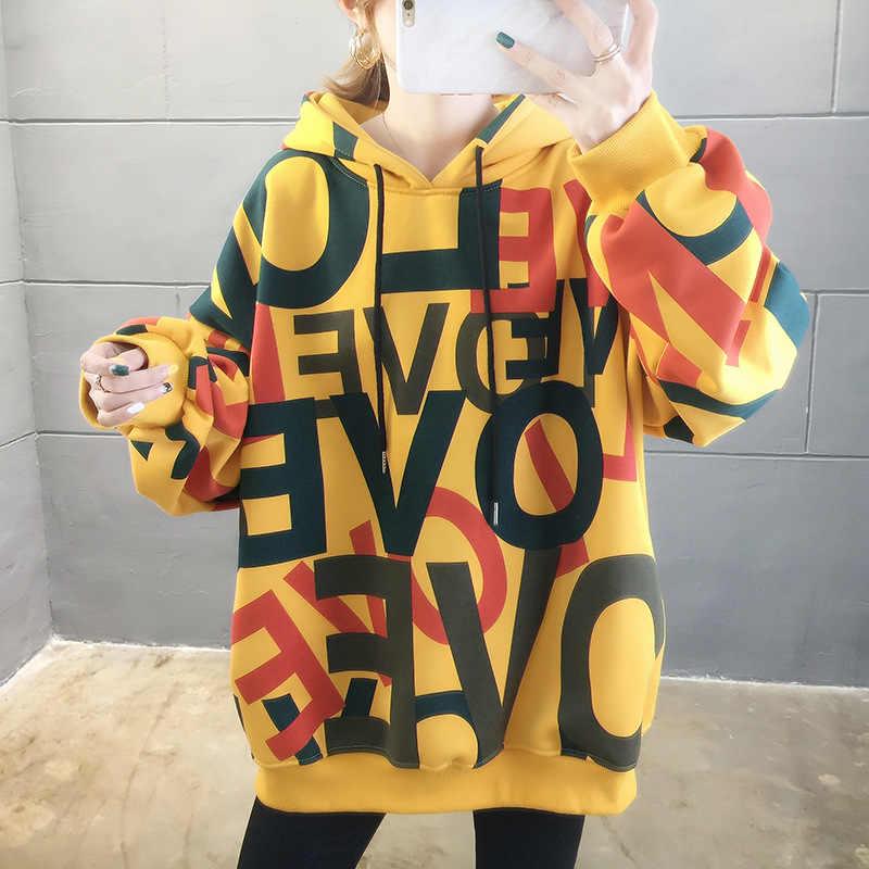 2020 ملابس الربيع النسائية هوديس في سن المراهقة الشارع Harajuku الهيب هوب الباستيل البلوز للنساء الطباعة فضفاضة الترفيه هوديي Bts