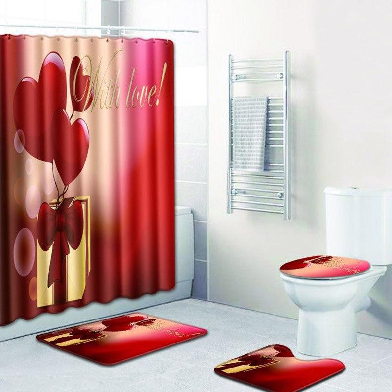 Amour coeur rideau de douche salle de bains imperméable Polyester tissu écran de bain anti-dérapant toilette siège couverture tapis décor à la maison cadeaux
