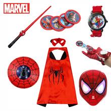 Disney Marvel Spider-Man maska LED Launcher rękawiczki zegarek przylądek zestaw superbohatera miecz dzieci zabawki z kreskówek dzieciak noworoczny prezent CosplED tanie tanio Model CN (pochodzenie) Unisex none 30-70cm PIERWSZA EDYCJA 6 lat Peryferyjne FD566 Zachodnia animacja Produkty na stanie
