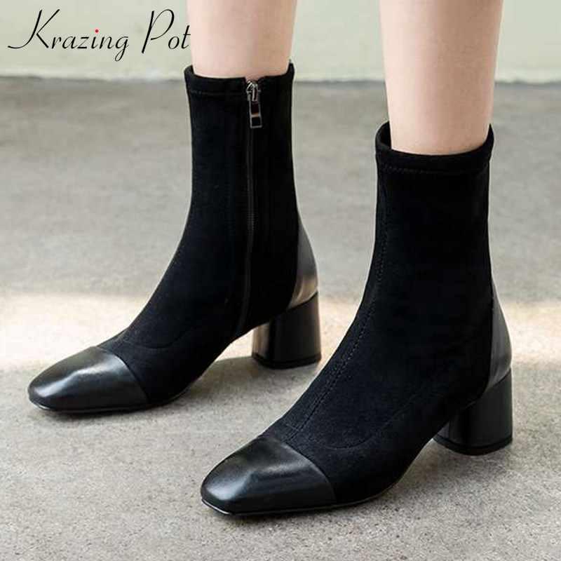 Krazing pot yeni patchwork İnek deri akın çizmeler kare ayak yüksek topuklu yumuşak kış sıcak tutmak yan zip kadınlar orta buzağı çizmeler L19