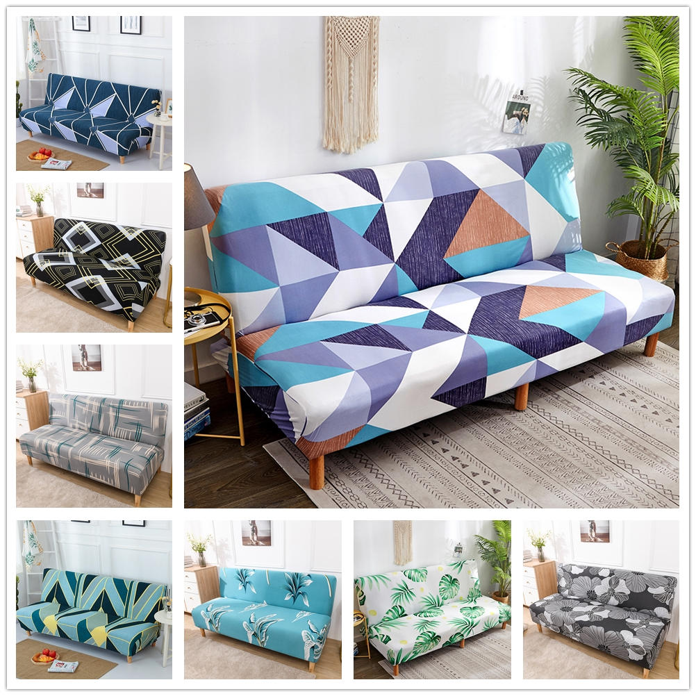 Geometric All-inclusive Folding Sofa Bed Cover Tight Wrap Sofa Rekbare Kaft Couch Cover Without Armrest Stretch Slipcover