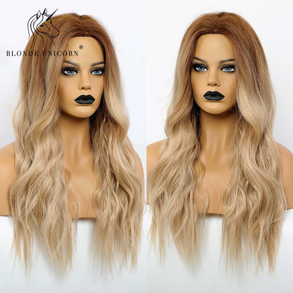 Блонд Единорог синтетический темный корень Омбре светильник коричневый парик для черно-белых женщин центральная часть воды волнистые волосы парики термостойкие