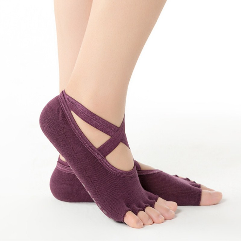 Women Cross Anti-slip Yoga Socks Backless Silicone Non-slip Sock Ladies Ventilation Ballet Dance Gym Fitness Pilates Cotton Sock