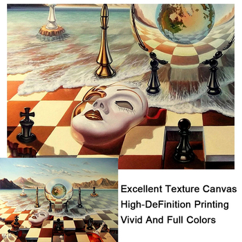 Salvador Dali Abstract Weird Canvas Painting Surrealism Chess Mask On Sea Poster Print Wall Art for Living Room Wall Decoration 5