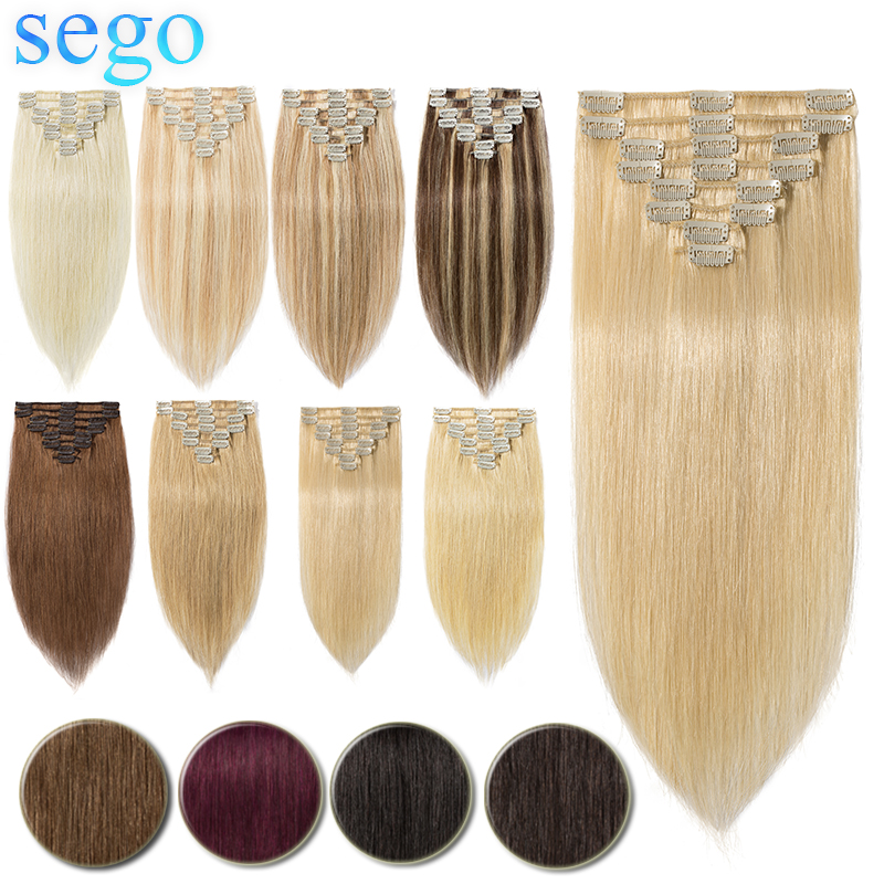 """SEGO 75-120G 10""""-24"""" Non-Remy Hair 8Pcs Set Clips In 100% Human Hair Extensions Straight Natural Brazilian Hair Blonde"""