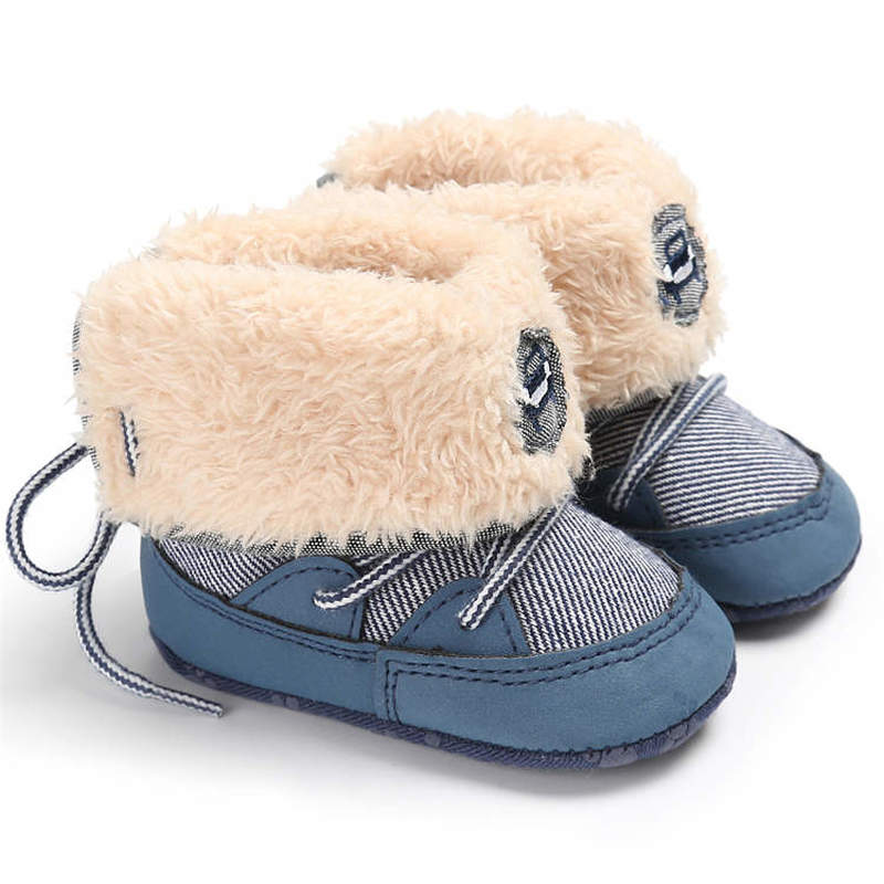 Winter Baby Shoes Boy Girl Booties Toddler Lacing Lace Rubber Sole Anti-slip Keep Warm Newborn Toddler First Walkers Shoes Boot