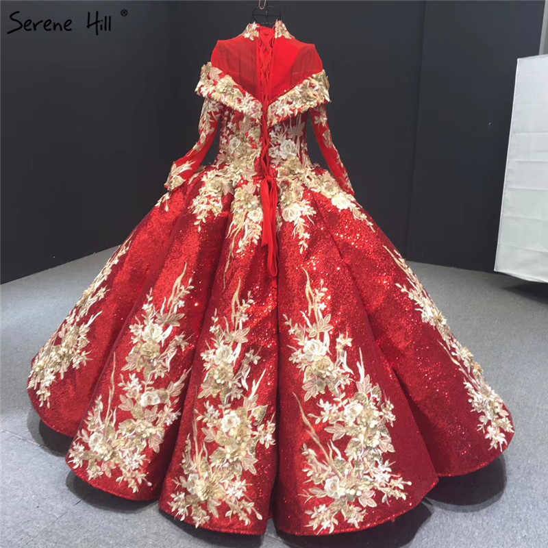 יין אדום נצנצים בעבודת יד פרחי שמלות כלה 2020 ארוך שרוולים יוקרה כלה שמלות תמונה אמיתית HM66704 תפור לפי מידה