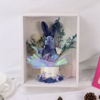Festive Dry Flowers Rabbit Decor With Wishing Light Gift Box Home Garden Party Supplies Artificial Decorations