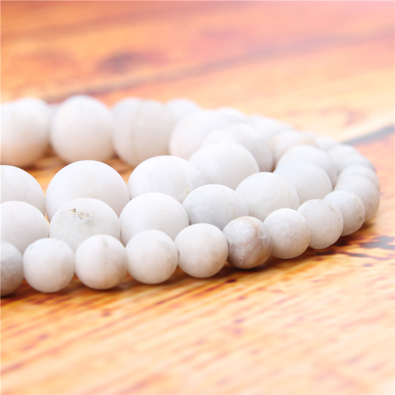 Frosted White Agate Natural Stone Bead Round Loose Spaced Beads 15 Inch Strand 4/6/8/10mm For Jewelry Making DIY Bracelet
