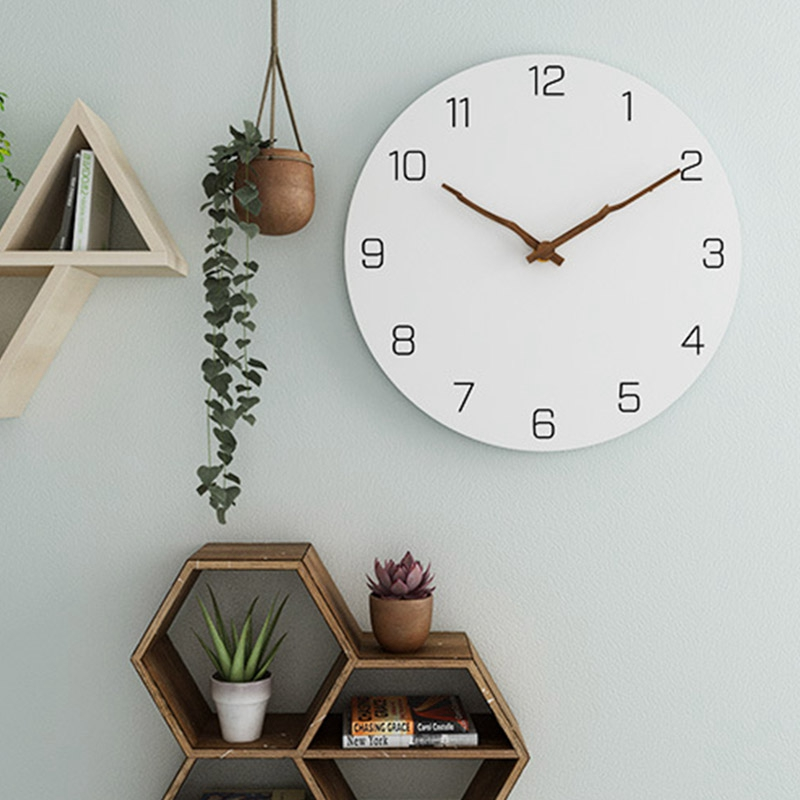 Fashion-Wooden Wall Clock Simple Modern Design For Living Room Nordic Brief Wood Clocks White Wall Watch Home Decor Silent