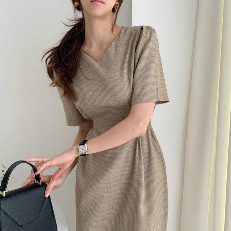 Women Summer Vintage Small Plaid Bodycon Bandage Long Dress Sexy V Neck Sashes Split Midi Sundress Slim Waist