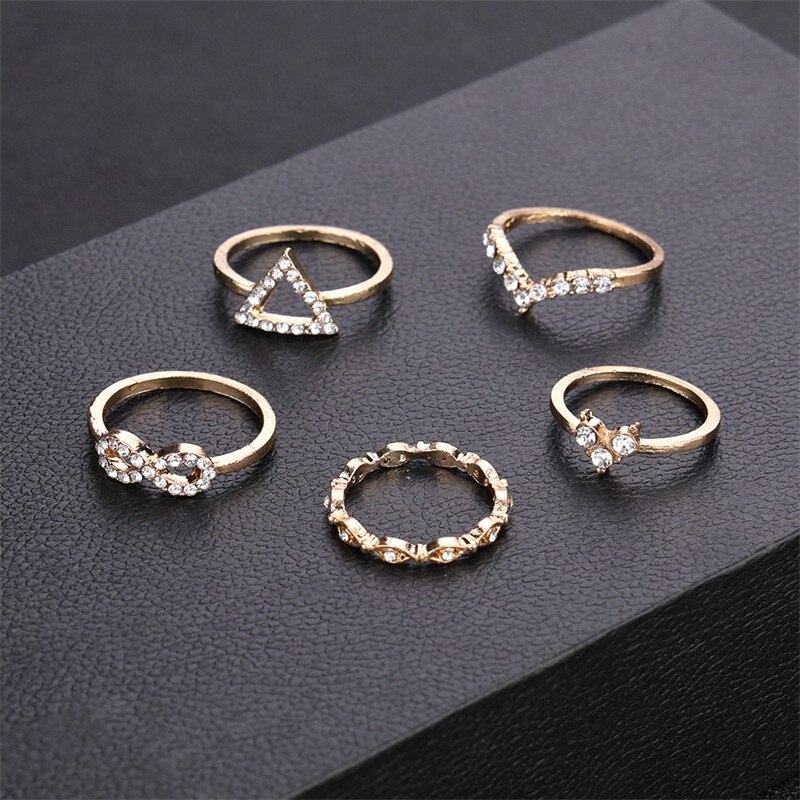 5Pcs Set New Women Large Crystal Geometric Cross Gold Ring Party Wedding Jewelry