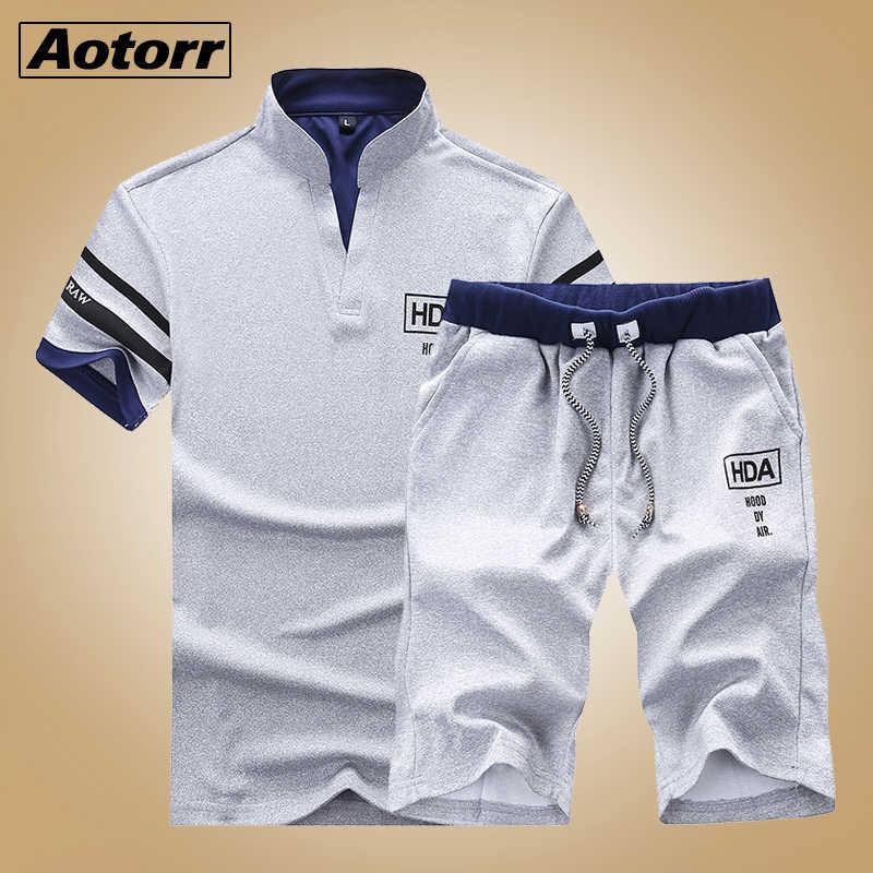 2Pcs Men/'s Tracksuits Set Summer Short Sleeve T-Shirt Tops Shorts Sport Suit New