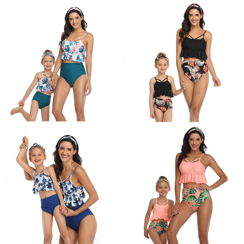 Mother Daughter Swimwear 2020 New Spring Summer Family Matching Clothes Outfits Mom And Me Bikini Swimsuit Beach Holiday Sets