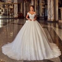 Alonlivn Luxury Voile Scalloped Lace Up Beading Pearls A Line Wedding Dresses vestido de noiva