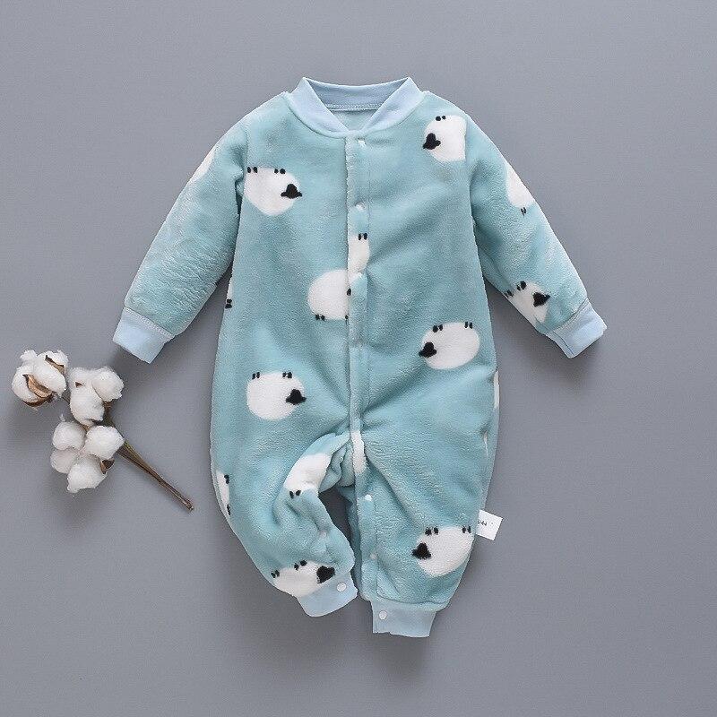 Autumn & Winter Newborn Baby Clothes Dinosaur Print Baby Boy Romper Warm Infant Baby Boy Girl Soft Fleece Jumpsuit Pajamas