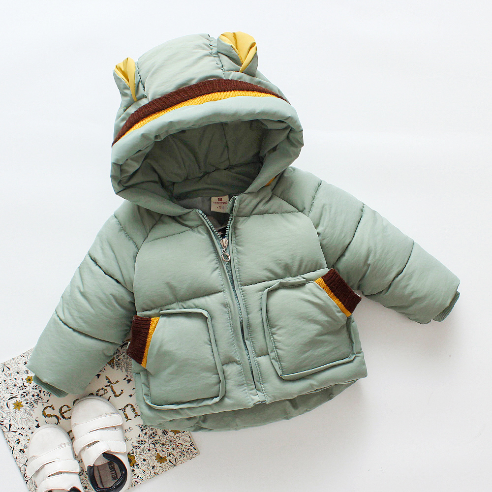 Kids Down Jacket Boy Girl Long Coat Solid Cotton Padded Warm Winter Snowsuit