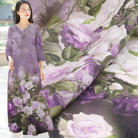 Purple Rose Print Natural Silk Fabric With Linen Dress Material Mulberry Silk