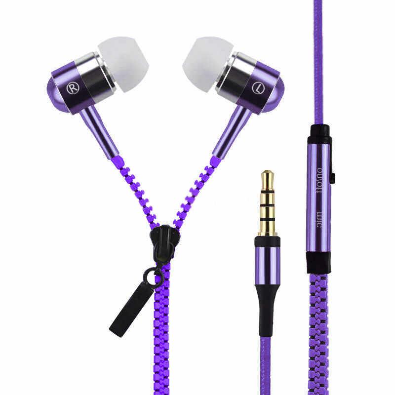 3.5 مللي متر سحاب سماعة Aux الصوت جاك في الأذن سماعات مع ميكروفون Vetoketju Rits رئيس Cremallera سماعة آيفون