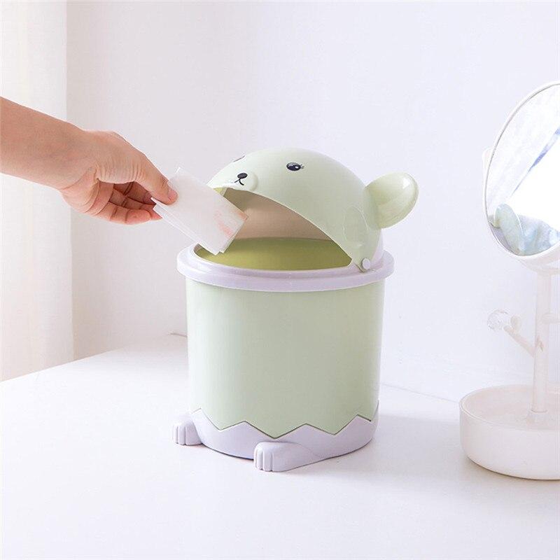 Panda Flip Desktop Trash Bin Home Living Room Coffee Table With Lid Small Paper Basket Plastic Garbage Cans|Waste Bins| |  - title=
