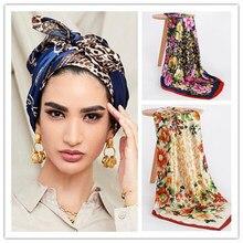 Мода Шелковый шарф для женщин с принтом волос шеи квадратные шарфы женские офисные шаль бандана мусульманский платок-хиджаб глушитель плат...