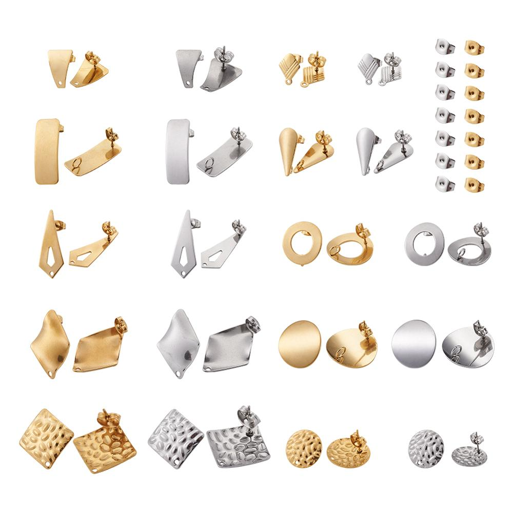 pandahall DIY Jewelry Kits 304 Stainless Steel Stud Earring Findings with Loop and Ear Nuts/Earring Backs Mixed Shape 20pairs jewelry making kits  - AliExpress