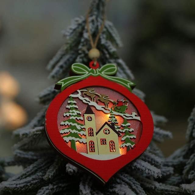 Creative Led Light Christmas Tree Hanging Pendant Star Car Heart Wooden Ornament Decoration Shine Romantic New Year Ornaments 14