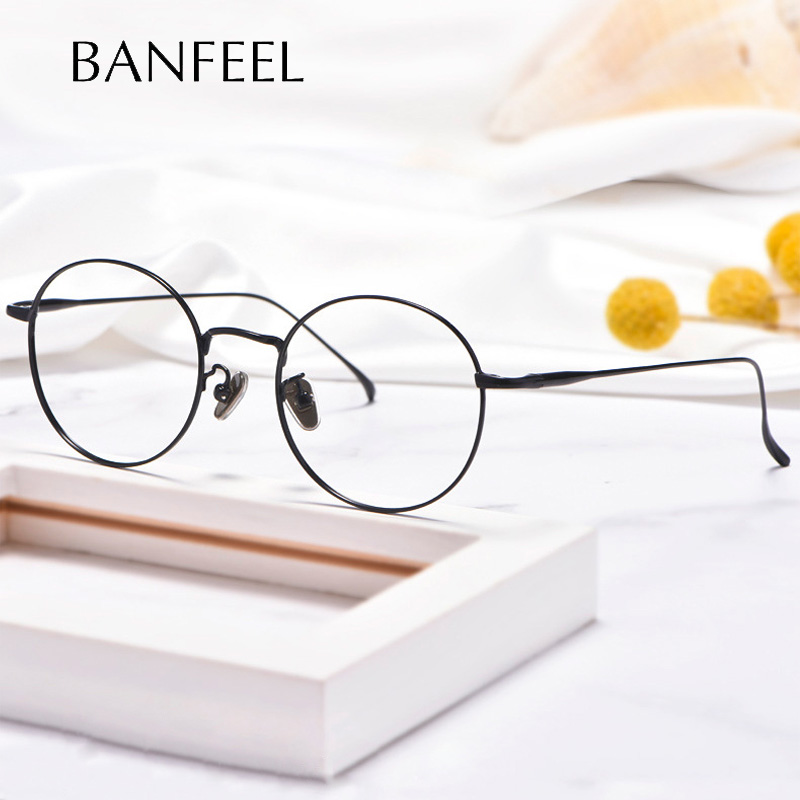 Óculos redondos de titânio puro armação de óculos masculinos vintage quadros ópticos unissex prescrição feminino miopia quadros eyewear