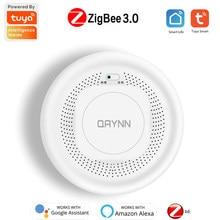 ZigBee-Detector de humo Tuya, Sensor de alarma de fuego inteligente, sistema de seguridad de alarma para el hogar, Control por aplicación, funciona con Alexa y Google Home