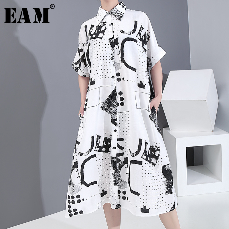 [EAM] Women White Pattern Printed Big Size Shirt Dress New Lapel Short Sleeve Loose Fit Fashion Tide Spring Summer 2020 1Y144
