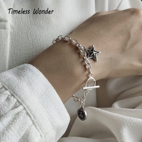 Timeless Wonder 925 Sterling Silver Retro Initial Tag Angel Star Charms Bracelet Women Jewlery Punk Hiphop Gothic Gift Boho 2592