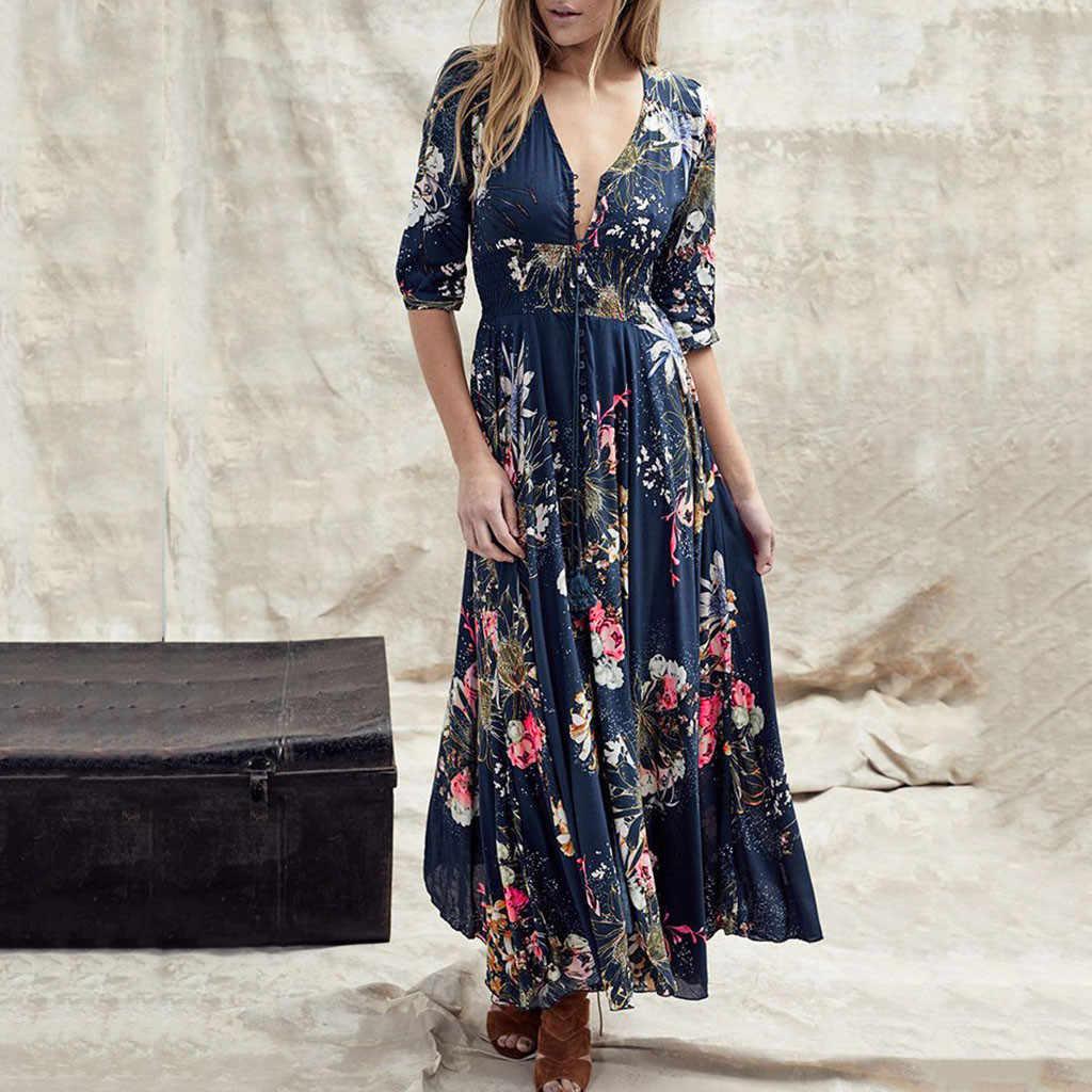 Новинка 2019 года, женское летнее для пляжа в богемном стиле, макси платье, сексуальное винтажное платье с v-образным вырезом и рукавом три четверти, Повседневное платье, vestidos #60