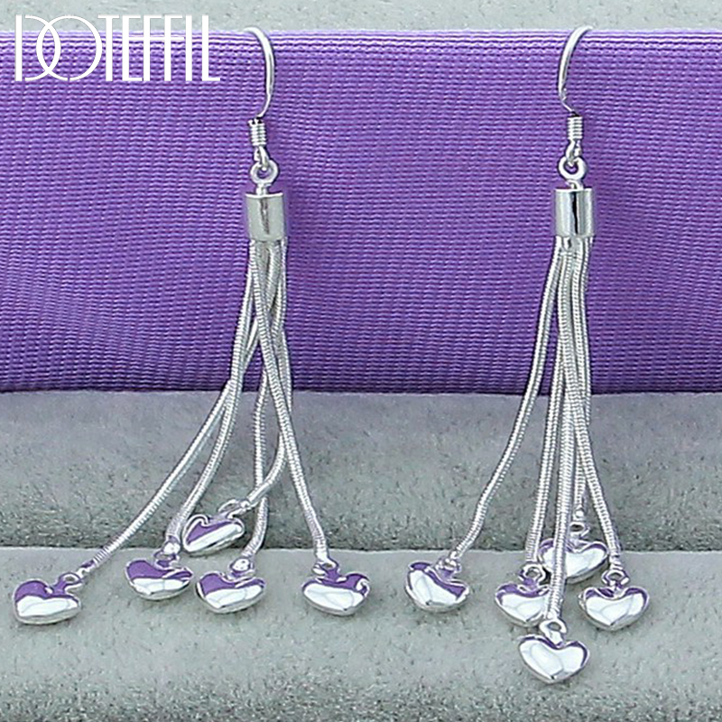 DOTEFFIL 925 Sterling Silver Five Heart Snake Chain Long Drop Earrings For Women Wedding Engagement Party Fashion Jewelry
