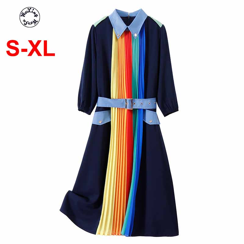 2020 Women's spring/summer dress Europe rainbow color patchwork fashion dress S to XL