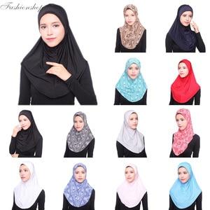 Muslim Hijab Islamic Jersey Turban Women Black Ninja Underscarf Caps Instant Head Scarf Full Cover Inner Coverings hats(China)