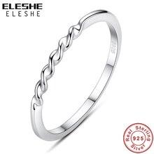 Подлинный eleshe, настоящее 925 пробы, серебряное кольцо, штабелируемое, волнистое, бесконечное кольцо на палец для женщин, свадебное, оригинальное ювелирное изделие