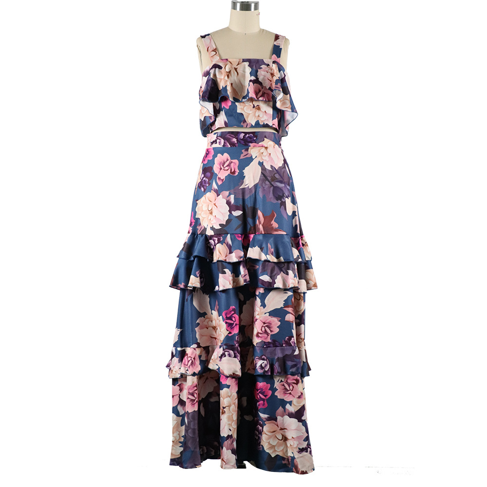 H35b5bd1ddf404c4aade535bf2fd16789w - Women Summer Boho Beach Two Piece Set Sexy Skirt Set Crop Top+Maxi Long Skirt Floral Printed Ruffles High Waist Casual Two Piece