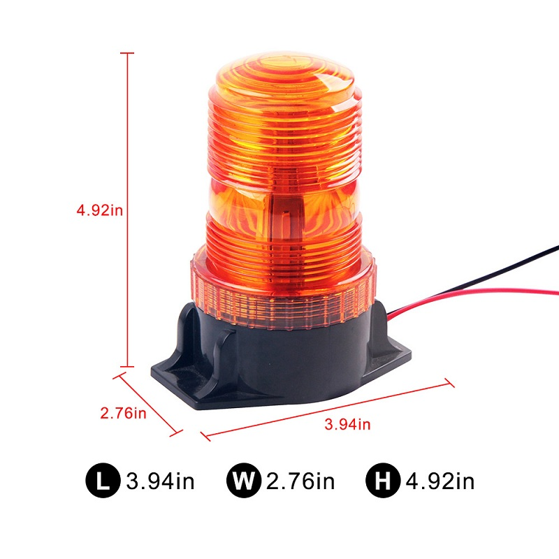 12-30V Tractor Rotation Flashing Light 30 Led Strobe Traffic Warning Light PC Emergency Ratating Safety Alarm Beacon Round Amber