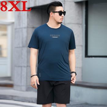 big plus size 8XL 7XL  Arrivals Men T Shirt  Top Tee + Shorts Summer Two Pieces Short Sleeve Casual Quick-drying Tee Shirts Set