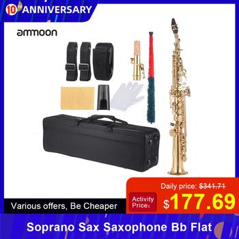 Ammoon mosiądz prosty saksofon sopranowy saksofon Bb B płaski Instrument dęty drewnianej naturalna obudowa kluczyka wyrzeźbiony wzór z futerał do przenoszenia tanie i dobre opinie Spada dostroić b (c) ammoon Brass Saxophone Bb B Flat Golden Blue Black Red(optional)