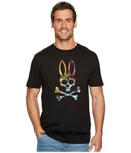 Psycho Bunny Tropical Photo Print Mens Graphic T-shirt Male Short Sleeve Cotton Top Black(China)