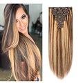 Doreen человеческие волосы для наращивания, 240 граммов, рояль 4/27, карамельные, каштановые, на заколках, Remy, настоящие натуральные волосы, заколк...