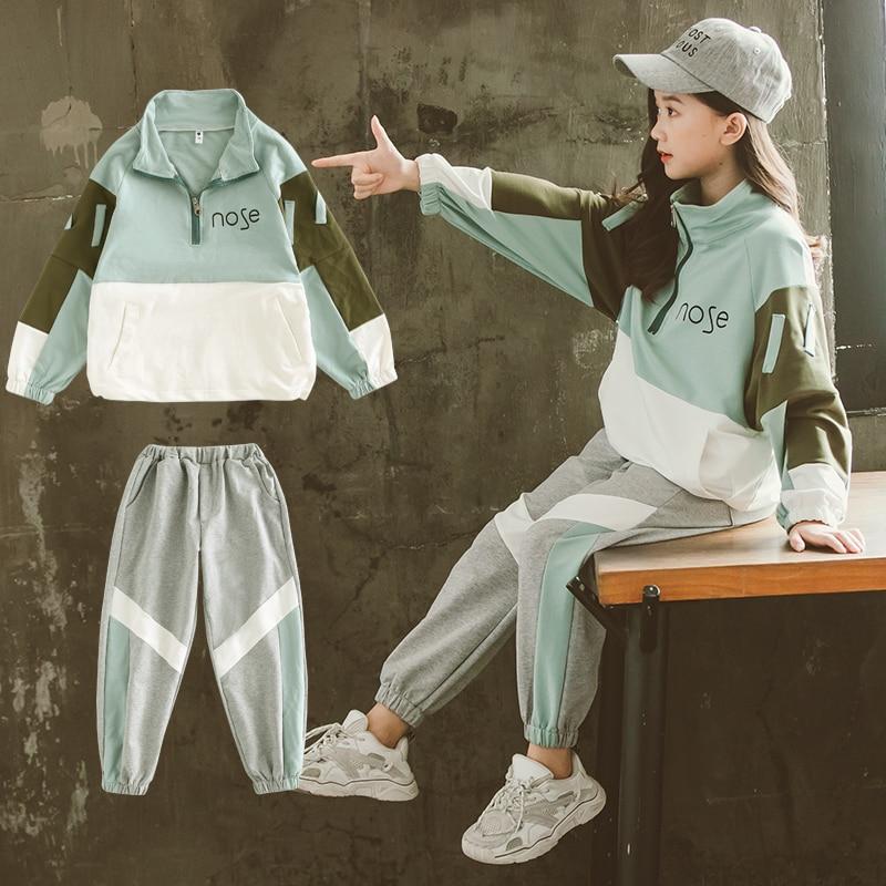 2021 Fashion Big Girls Sports Suits Semi-high Collar Letter Zipper Clothing Set Teenage Spring Autumn Tracksuit Kids Sportswear 5