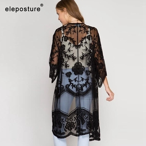 Image 4 - 2020 Sexy Lace Embroidery Beach Cover Up Women Bikini Cover Up Long Beach Dress Tunics Swimsuit Bathing Suits Cover Up Beachwear
