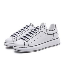 AUEXAUSTI Men&Women Leather SKateboard Shoes Street Sneaker Athletic Sports Shoes for Women Height Increase off white Footwear