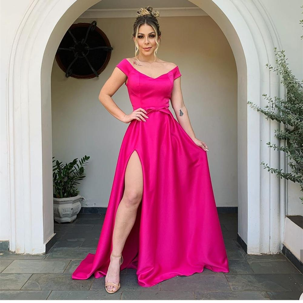 Elegant Evening Dress 2020 A-Line Cap Sleeve Side Slit Sexy Satin Women Formal Party Gowns Special Occasion Floor Length V-Neck