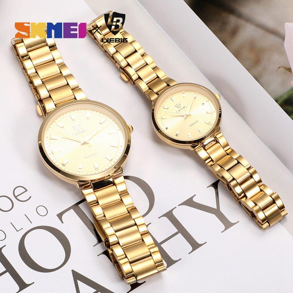 2020 Luxury Golden Quartz Watch Top Brand Steel Bracelet Wrist Watches For Men Women Female Male relogio masculino Clock L1012 4